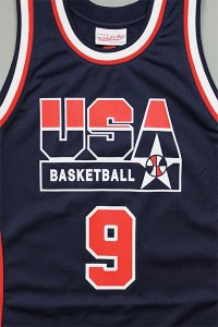 MITCHELL&NESS AUTHENTIC JERSEY USA OLYMPIC JORDAN【NVY/RED】