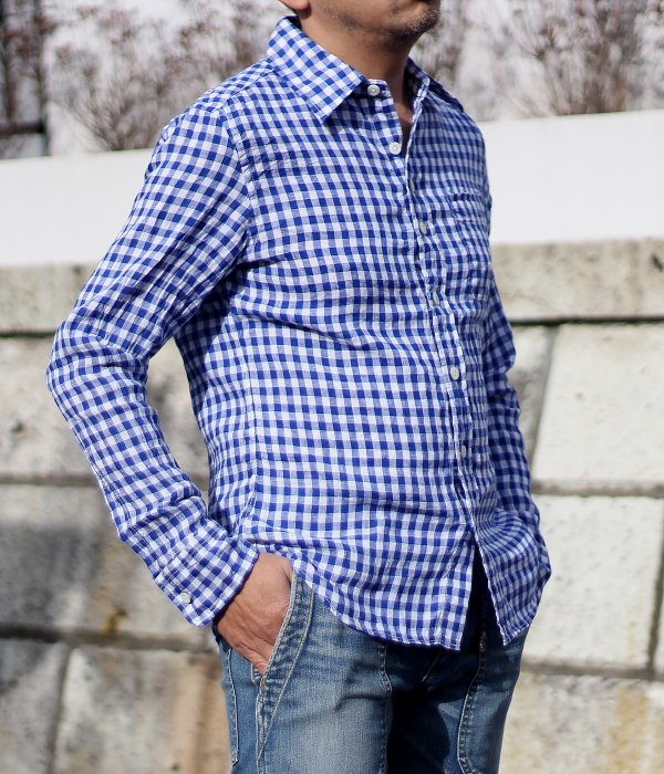 <img class='new_mark_img1' src='//img.shop-pro.jp/img/new/icons5.gif' style='border:none;display:inline;margin:0px;padding:0px;width:auto;' />FRENCH LINEN GINGHAM CHECK SHIRT