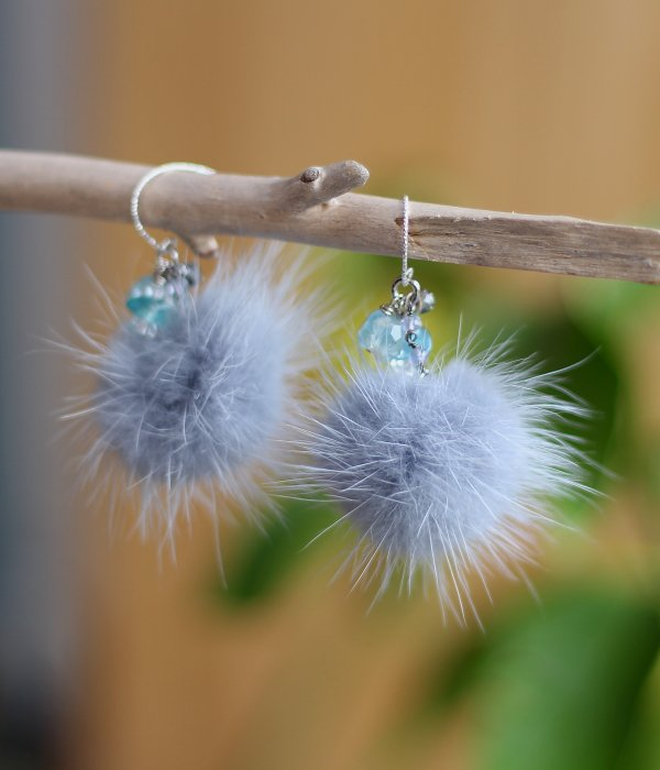 FUR PIERCED EARRINGS