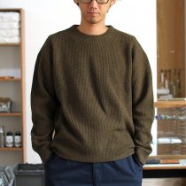 crepuscule / Cardigan Rib Stitch L/S 畦編み クルーネックセーター 1603-008 Khaki<img class='new_mark_img2' src='//img.shop-pro.jp/img/new/icons47.gif' style='border:none;display:inline;margin:0px;padding:0px;width:auto;' />