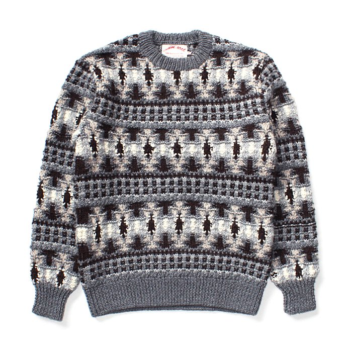 107899717 comm. arch. / Hand Knitted P/O - Finland ハンドニットローゲージセーター グレー 01