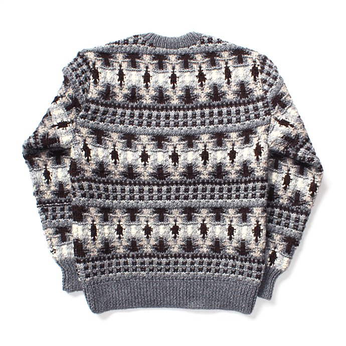 107899717 comm. arch. / Hand Knitted P/O - Finland ハンドニットローゲージセーター グレー 02