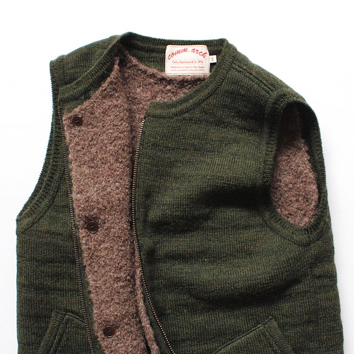 comm. arch. Zipped Downy Vest - Forest Green ジップフロント ニットベスト グリーン<img class='new_mark_img2' src='//img.shop-pro.jp/img/new/icons47.gif' style='border:none;display:inline;margin:0px;padding:0px;width:auto;' /> 02