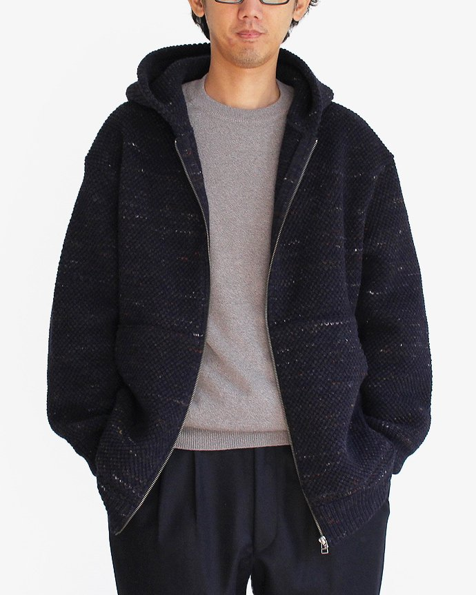 crepuscule crepuscule / Lowgage Knit Parka ローゲージニットパーカー ネイビー 1603-016 - Navy 02