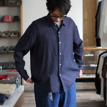 THEE THEE x hatsutoki W-face Shirts comfortable WF-SH-01 Navy