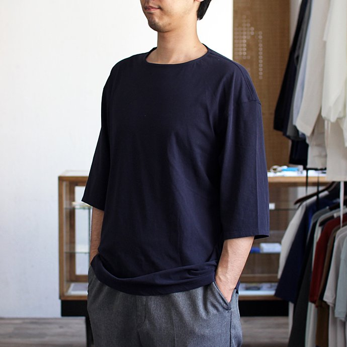 118115118 smoothday / ユニセックス テクノラマ オーバーサイズ 七分袖Tシャツ SG-T002-004 Navy<img class='new_mark_img2' src='//img.shop-pro.jp/img/new/icons47.gif' style='border:none;display:inline;margin:0px;padding:0px;width:auto;' /> 01