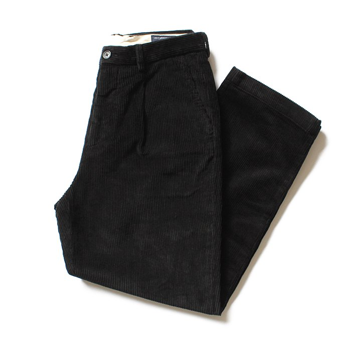 122332320 RICCARDO METHA / One Tuck Wide Trousers Corduroy コーデュロイ ワンタック ワイドパンツ - Black<img class='new_mark_img2' src='//img.shop-pro.jp/img/new/icons47.gif' style='border:none;display:inline;margin:0px;padding:0px;width:auto;' /> 01