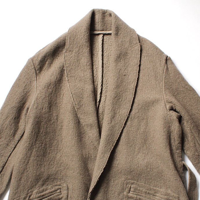 123940356 blurhms / BHS-C17FW06 Shrink Cotton-Wool Roll Coat - Grey Beige 圧縮ウール/コットン ガウンコート ベージュ 02