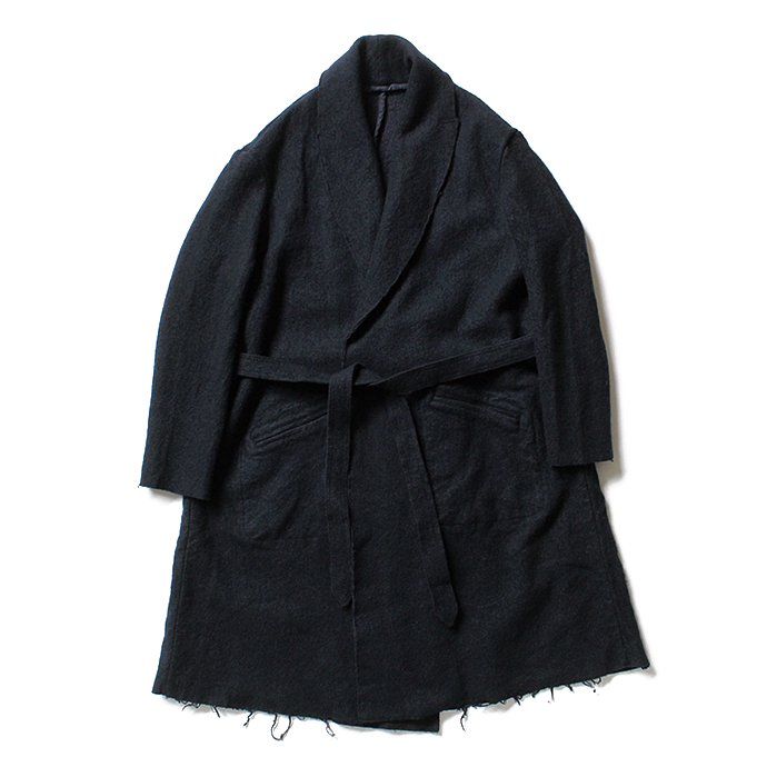 blurhms BHS-C17FW06 Shrink Cotton-Wool Roll Coat - Black Navy 圧縮ウール/コットン ガウンコート ネイビー 02