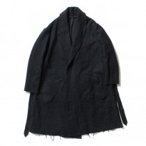 blurhms / BHS-C17FW06 Shrink Cotton-Wool Roll Coat - Black Navy 圧縮ウール/コットン ガウンコート ネイビー