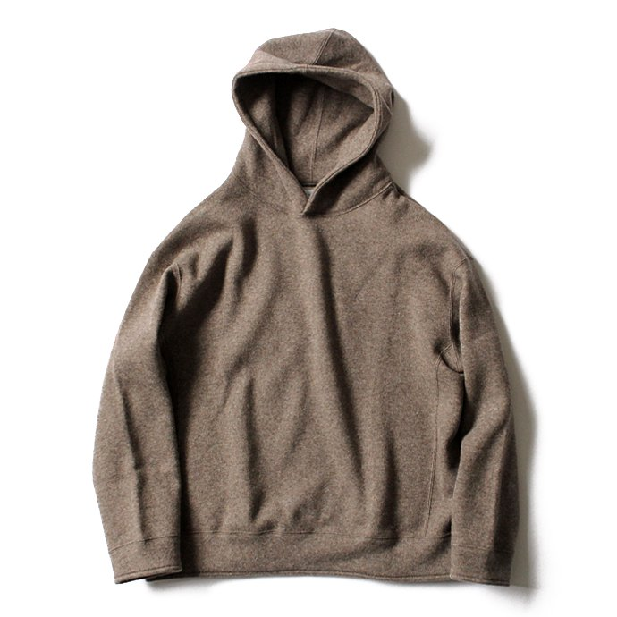 124034898 THEE(シー)/ w-face hoodie knit ダブルフェイスフーディーニット DF-KT-02 Brown 01