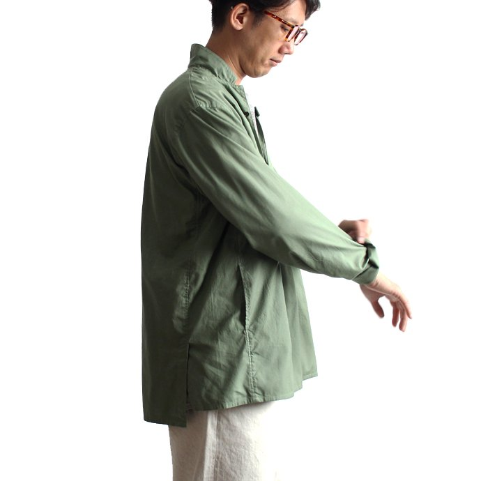 blurhms Soft Ox Tailored Pullover Shirt BHS-18SS008 - Ash Khaki 02
