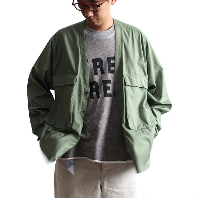 128488612 blurhms / Soft Ox Utility Collarless Jacket BHS-18SS014 - Ash Khaki<img class='new_mark_img2' src='//img.shop-pro.jp/img/new/icons20.gif' style='border:none;display:inline;margin:0px;padding:0px;width:auto;' /> 01