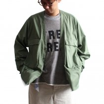 blurhms / Soft Ox Utility Collarless Jacket BHS-18SS014 - Ash Khaki
