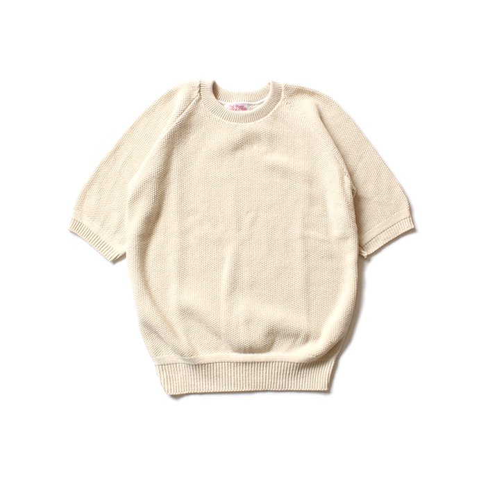 128893332 Fall River Knitting Mills / Seed Stitch Crew Neck H/S Sweater - ナチュラル 01
