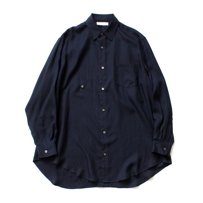 THEE(シー)/ RV-SH-03 drape double one button shirts - NAVY ダブルシャツ ネイビー
