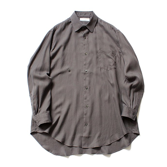 134583659 THEE(シー)/ RV-SH-03 drape double one button shirts - CHARCOAL ダブルシャツ チャコール 01
