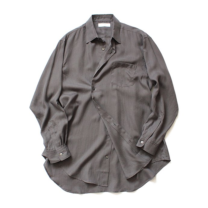 134583659 THEE(シー)/ RV-SH-03 drape double one button shirts - CHARCOAL ダブルシャツ チャコール 02