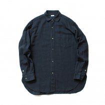 blurhms / Rough Silk Cotton Shirt - Navy BHS-18AW007SLK