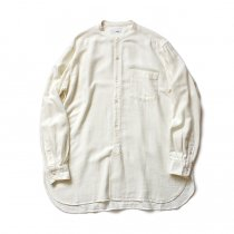 blurhms / Rough Silk Cotton Band Collar Shirt - Natural BHS-18AW008SLK