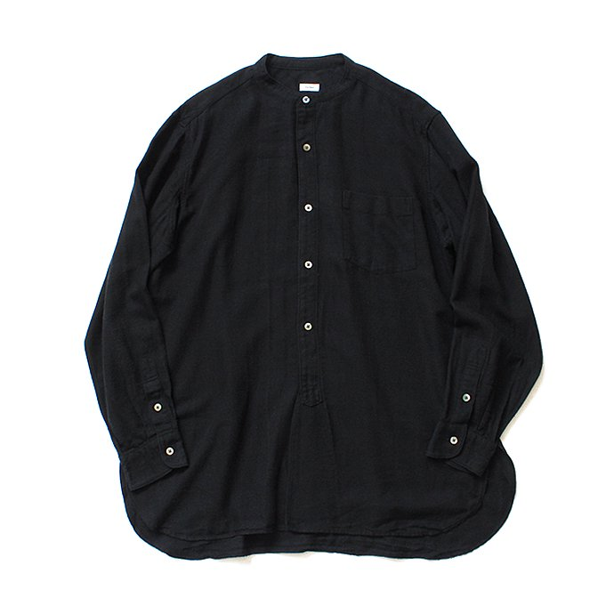 blurhms / Rough Silk Cotton Band Collar Shirt - Black BHS-18AW008SLK