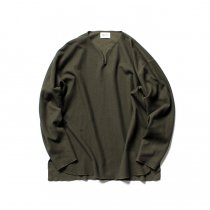 blurhms ROOTSTOCK / Rough & Smooth Thermal Loose Fit Over-neck L/S BHS-RKAW18002 - Olive