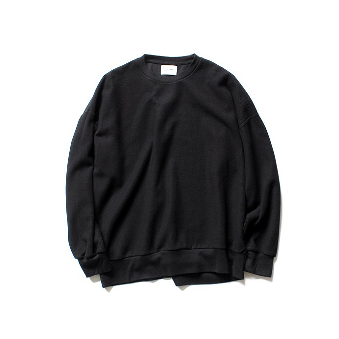 135104162 blurhms ROOTSTOCK / Rough & Smooth Thermal Loose Fit Crew-neck L/S BHS-RKAW18004 - Black 01