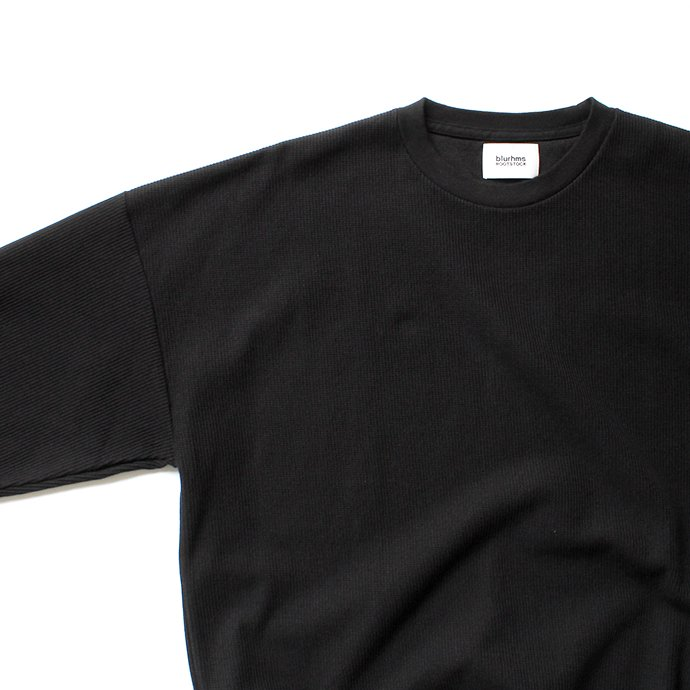 135104162 blurhms ROOTSTOCK / Rough & Smooth Thermal Loose Fit Crew-neck L/S BHS-RKAW18004 - Black 02