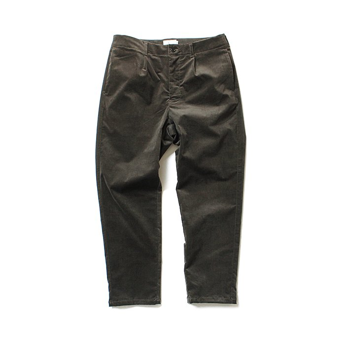 STILL BY HAND / PT0684 ストレッチ コットンベロアスラックス - Charcoal