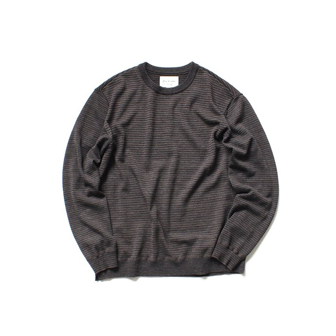 136307997 STILL BY HAND / KN0784 ボーダークルーネックセーター - Brown 01