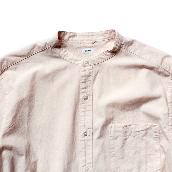 141065728 blurhms / Polish Chambray Band Collar Shirt L/S BHS-19SS019 - Light Pink 02