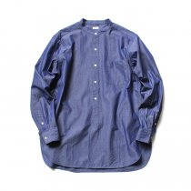 blurhms / Polish Chambray Band Collar Shirt L/S BHS-19SS019 - CHM-Navy