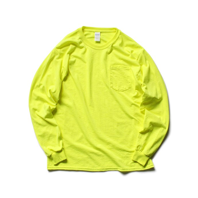 144330395 GILDAN / 2410 6.0oz Ultra Cotton Long Sleeve Pocket T-Shirt ウルトラコットン長袖ポケットTシャツ - Safety Green 01