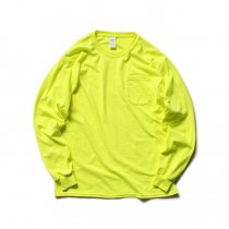 GILDAN / 2410 6.0oz Ultra Cotton Long Sleeve Pocket T-Shirt ウルトラコットン長袖ポケットTシャツ - Safety Green