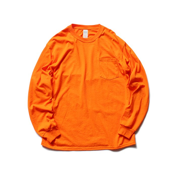 144330424 GILDAN / 2410 6.0oz Ultra Cotton Long Sleeve Pocket T-Shirt ウルトラコットン長袖ポケットTシャツ - Safety Orange 01