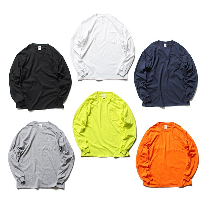144330424 GILDAN / 2410 6.0oz Ultra Cotton Long Sleeve Pocket T-Shirt ウルトラコットン長袖ポケットTシャツ - Safety Orange 02