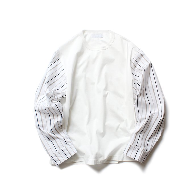 144639808 THEE(シー)/ stripe long sleeve t-shirts シャツ素材長袖カットソー CT-CS-01 White/Beige Stripe 01