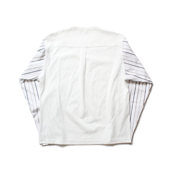 144639808 THEE(シー)/ stripe long sleeve t-shirts シャツ素材長袖カットソー CT-CS-01 White/Beige Stripe 02