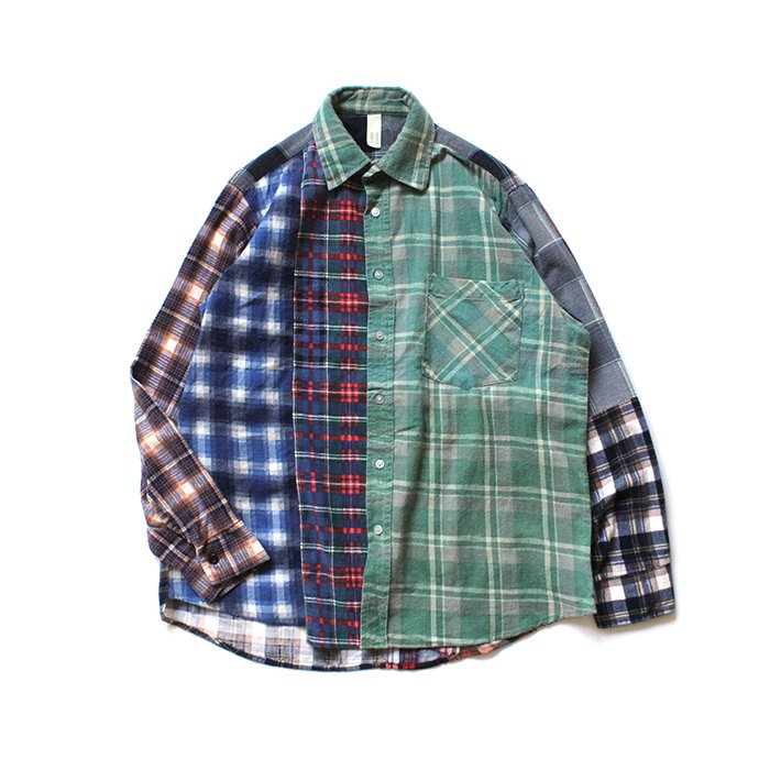 146903293 Hexico / Deformer Switching Color Ex. Printed Plaid Flannel Shirts リメイクプリントネルシャツ L - 02 01