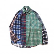 Hexico / Deformer Switching Color Ex. Printed Plaid Flannel Shirts リメイクプリントネルシャツ L - 02
