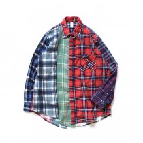 Hexico / Deformer Switching Color Ex. Printed Plaid Flannel Shirts リメイクプリントネルシャツ L - 03