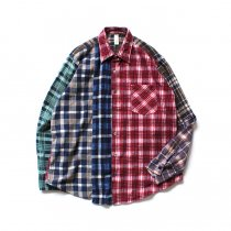Hexico / Deformer Switching Color Ex. Printed Plaid Flannel Shirts リメイクプリントネルシャツ L - 04