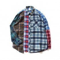 Hexico / Deformer Switching Color Ex. Printed Plaid Flannel Shirts リメイクプリントネルシャツ L - 05