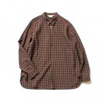 STILL BY HAND / SH07202 キュプラ混 プルオーバーチェックシャツ - Brown Check