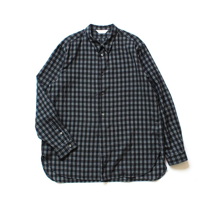 150692308 STILL BY HAND / SH07202 キュプラ混 プルオーバーチェックシャツ - Black Check<img class='new_mark_img2' src='//img.shop-pro.jp/img/new/icons47.gif' style='border:none;display:inline;margin:0px;padding:0px;width:auto;' /> 01