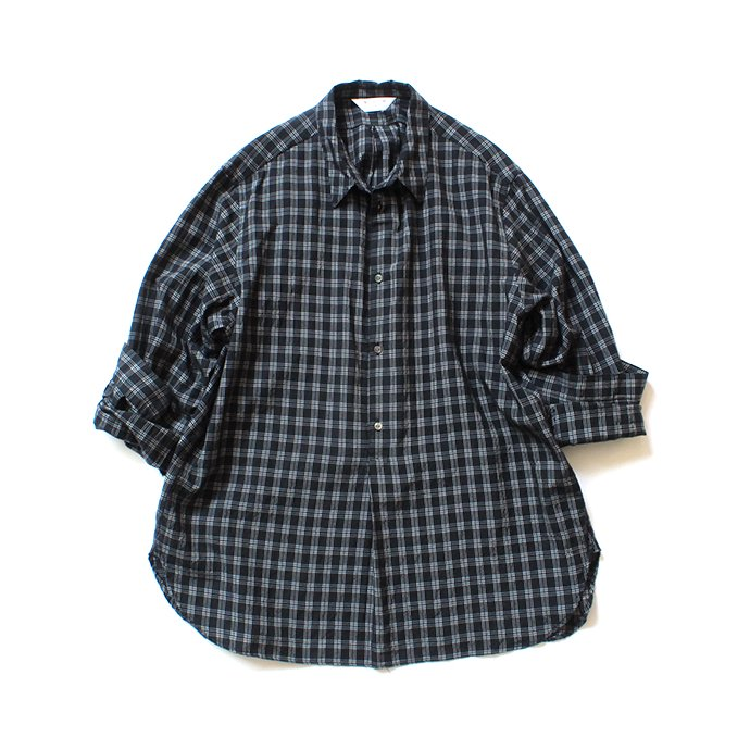 150692308 STILL BY HAND / SH07202 キュプラ混 プルオーバーチェックシャツ - Black Check<img class='new_mark_img2' src='//img.shop-pro.jp/img/new/icons47.gif' style='border:none;display:inline;margin:0px;padding:0px;width:auto;' /> 02