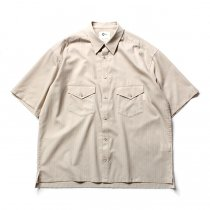 O-(オー)/ ELBOW SLEEVE SHIRT エルボースリーブシャツ 20S-05 - Sand Stripe<img class='new_mark_img2' src='//img.shop-pro.jp/img/new/icons47.gif' style='border:none;display:inline;margin:0px;padding:0px;width:auto;' />