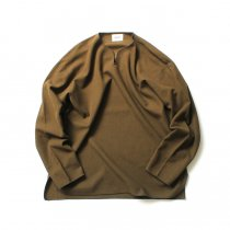 blurhms ROOTSTOCK / Rough & Smooth Thermal Over-Neck Loose Fit - Khaki Brown ROOTS-RKAW19004F20