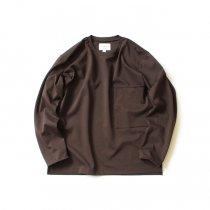 STILL BY HAND / CS03203 ポンチ素材 ビッグポケットカットソー - Brown