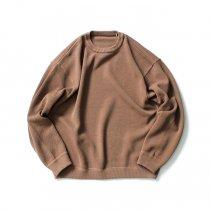 crepuscule / 2003-001 Moss stitch L/S sweat - L.Brown 鹿の子編みクルーネックプルオーバー ライトブラウン